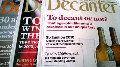 Decanter雜誌一連三期的進行了Decanting的測試