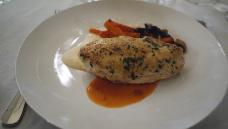 Herb Rubbed Grilled Yellow Chicken Red Label Supreme - wild ushroom sauté| cream polenta| tomato reduction| carrot