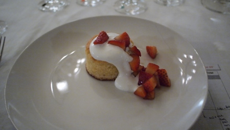 Warmed Olive Oil Cake - macerated strawberries| honey whipped creme