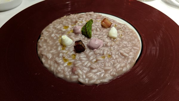 Risotto Castiglion del Boaco red wine, burrate and pancetta