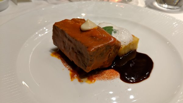 Beef short ribs, tomato sauce, oregano and potato mille-feuille